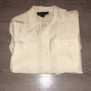 Ralph Lauren Size 8 Silk Button Down Shirt